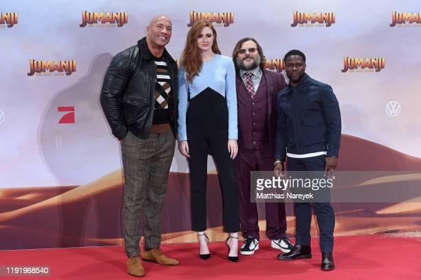Dwayne Johnson Karen Gillan Jack Black and Kevin Hart at the Berlin premiere of JUMANJI THE NEXT LEVEL at Sony Center on December 04 2019 in Berlin...