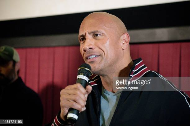 Dwayne Johnson makes a special appearance at a screening of Fighting With My Family at Regal Cinemas Atlantic Station on February 23 2019 in Atlanta...