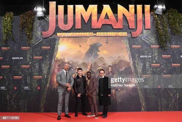 Dwayne Johnson Nick Jonas Kevin Hart and Jake Kasdan arrive for the German premiere of 'Jumanji Willkommen im Dschungel' at Sony Center on December 6...