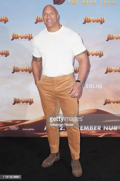 Dwayne Johnson poses during the press junket for JUMANJI THE NEXT LEVEL at Hotel Adlon on December 04 2019 in Berlin Germany