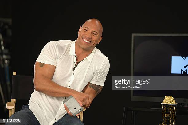 Dwayne Johnson preps to host the 2016 MTV Movie Awards at The Edition on February 20 2016 in Miami Beach Florida