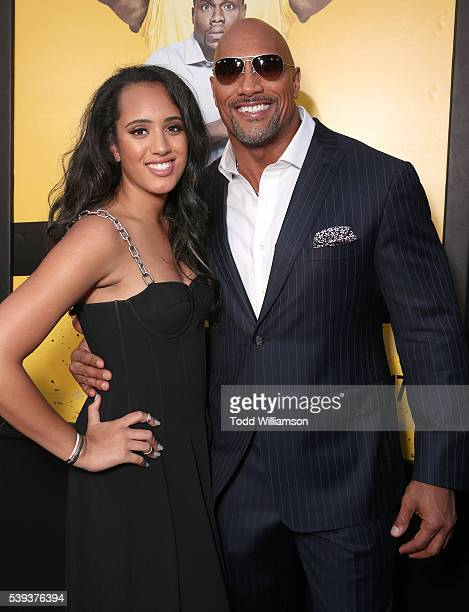 Dwayne Johnson with his daughter Simone Alexandra Johnson at the premiere Of Warner Bros Pictures' Central Intelligence at Westwood Village Theatre...