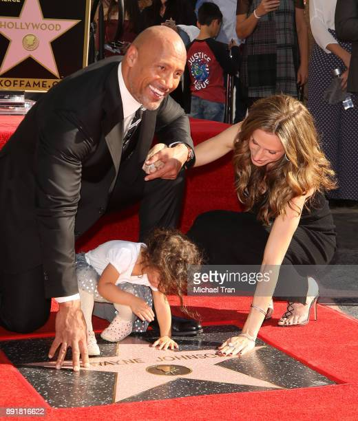 Dwayne Johnson with Lauren Hashian and their daughter Jasmine Johnson attend the ceremony honoring him with a Star on The Hollywood Walk of Fame held...