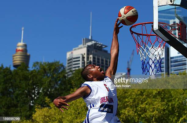 Dwayne LautierOgunley of Great Britain drives to the basket in the Mens Basketball 3x3 match between Great Britain and China during day two of the...