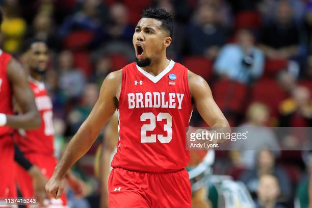 Dwayne LautierOgunleye of the Bradley Braves reacts after a play against the Michigan State Spartans during their game in the First Round of the NCAA...