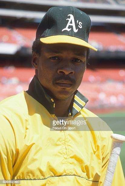 Dwayne Murphy of the Oakland Athletics looks on during batting practice prior to the start of a Major League Baseball game circa 1987 at the...