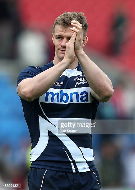 Dwayne Peel of Sale Sharks applauds the home fans on his last home game during the Aviva Premiership match between Sale Sharks and Leicester Tigers...
