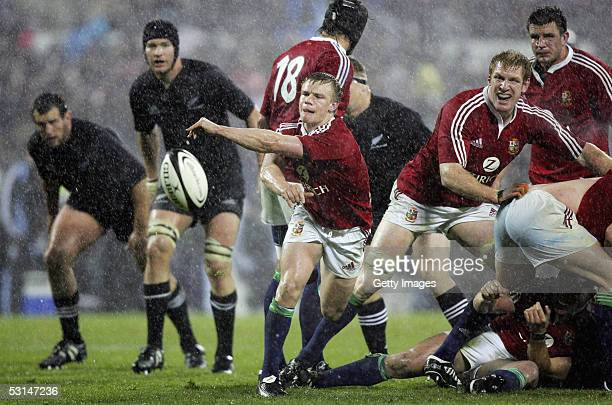 Dwayne Peel of the Lions clears the ball during the match between the British and Irish Lions and the New Zealand All Blacks at Jade Stadium June 25...