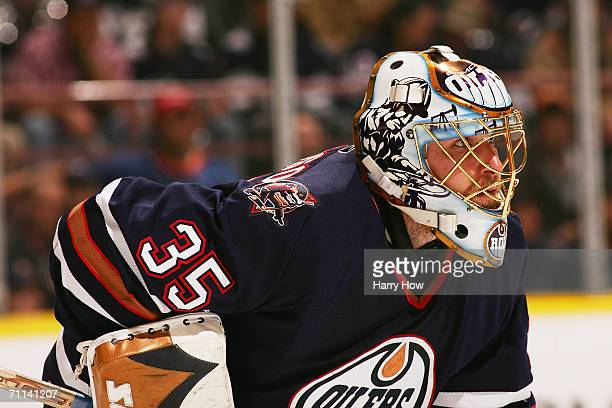 Dwayne Roloson of the Edmonton Oilers looks on against the Mighty Ducks of Anaheim in game three of the Western Conference Finals during the 2006 NHL...