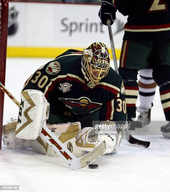 Dwayne Roloson of the Minnesota Wild gathers in the puck against the Edmonton Oilers on November 23, 2005 at the Xcel Energy Center in St. Paul,...