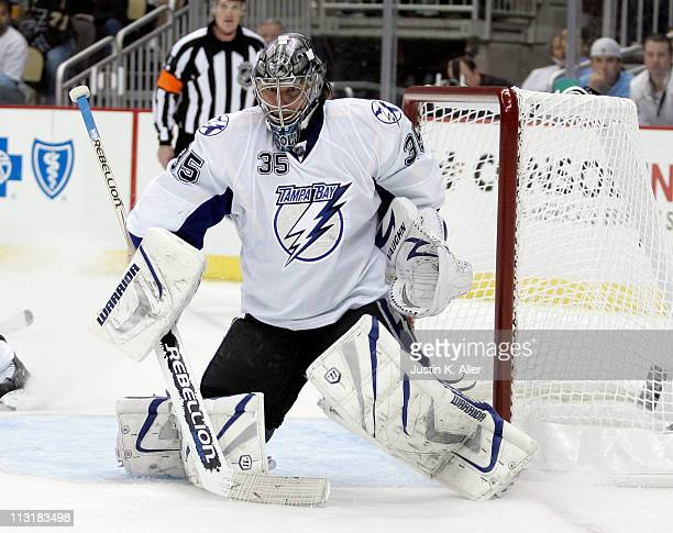 Dwayne Roloson of the Tampa Bay Lightning protects the net against the Pittsburgh Penguins in Game Five of the Eastern Conference Quarterfinals...