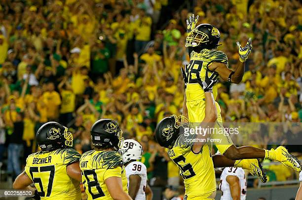 Dwayne Stanford of the Oregon Ducks celebrates a touchdown against the Virginia Cavaliers at Autzen Stadium on September 10 2016 in Eugene Oregon