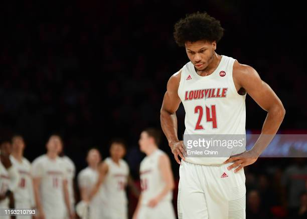 Dwayne Sutton of the Louisville Cardinals reacts during the second half of their game at Madison Square Garden on December 10 2019 in New York City...