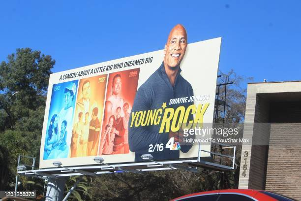 Dwayne The Rock Johnson Advertisement is seen on February 18, 2021 in Los Angeles, California.