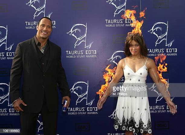 Dwayne 'The Rock' Johnson and Angela Uyeda during 2007 Taurus World Stunt Awards Arrivals at Paramount Studios in Los Angeles California United States