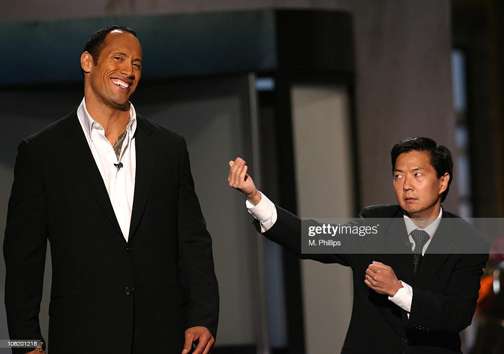 Dwayne 'The Rock' Johnson and Dr. Ken Jeong during 2007 Taurus World Stunt Awards - Show at Paramount Studios in Los Angeles, California, United States.