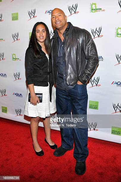 Dwayne 'The Rock' Johnson and guest attend WWE Superstars for Sandy Relief at Cipriani Wall Street on April 4 2013 in New York City