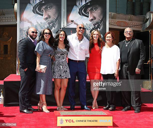 Dwayne 'The Rock' Johnson and his family attend the hand/footprint ceremony honoring Dwayne 'The Rock' Johnson held at TCL Chinese Theatre IMAX on...