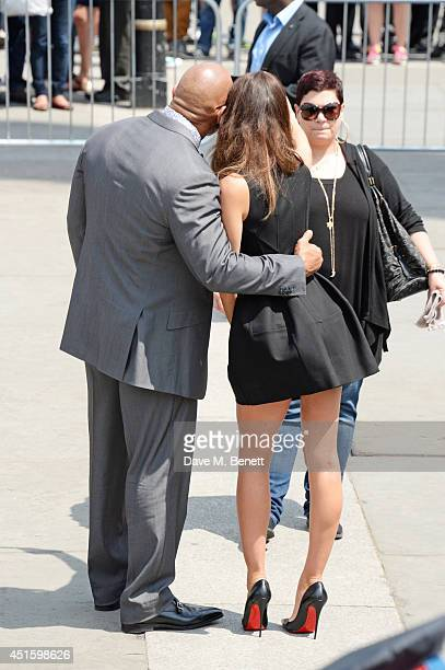 Dwayne The Rock Johnson and Irina Shayk attend a photocall for Hercules at Nelson's Column in Trafalgar Square on July 2 2014 in London England