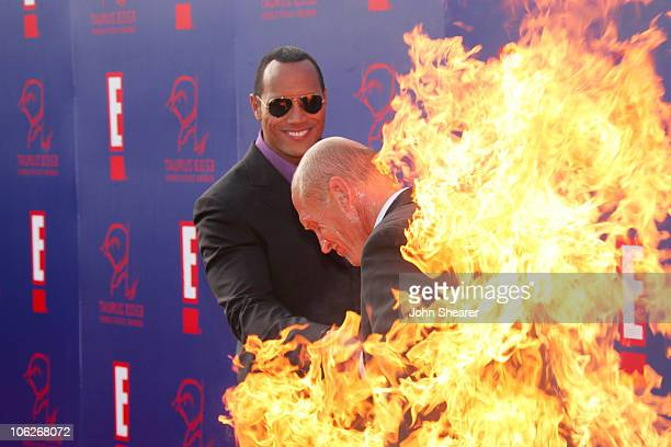 Dwayne 'The Rock' Johnson and Jim Trella during 2005 Taurus World Stunt Awards Arrivals in Los Angeles California United States