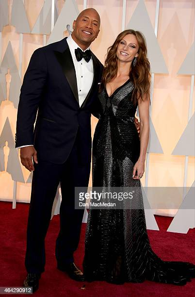 Dwayne 'The Rock' Johnson and Lauren Hashian at the 87th Annual Academy Awards at Hollywood & Highland Center on February 22, 2015 in Los Angeles,...