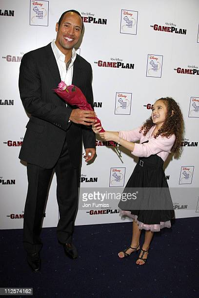 Dwayne 'The Rock' Johnson and Madison Pettis attend The Game Plan premiere held at the Odeon Leicester Square on March 2 2008 in London England