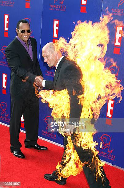 Dwayne 'The Rock' Johnson and Tim Trella during 2005 Taurus World Stunt Awards Arrivals in Los Angeles California United States
