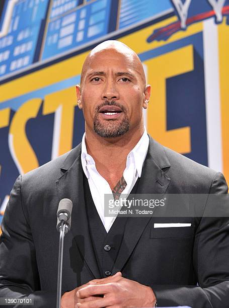Dwayne 'The Rock' Johnson attends a press conference to announce that MetLife Stadium will host WWE Wrestlemania 29 in 2013 at MetLife Stadium on...