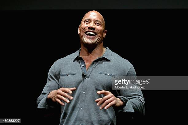 Dwayne 'The Rock' Johnson attends CinemaCon 2014 Off and Running Opening Night Studio Presentation from Paramount Pictures at Caesars Palace during...