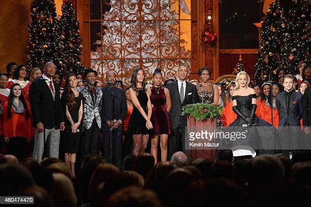 "Dwayne ""The Rock"" Johnson, Christina Perri, Aloe Blacc, Darius Rucker, Malia Obama, Sasha Obama, U.S. President Barack Obama, First Lady Michelle..."