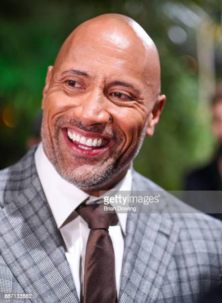 Dwayne 'The Rock' Johnson during an interview at the German premiere of 'Jumanji Willkommen im Dschungel' at Sony Centre on December 6 2017 in Berlin...