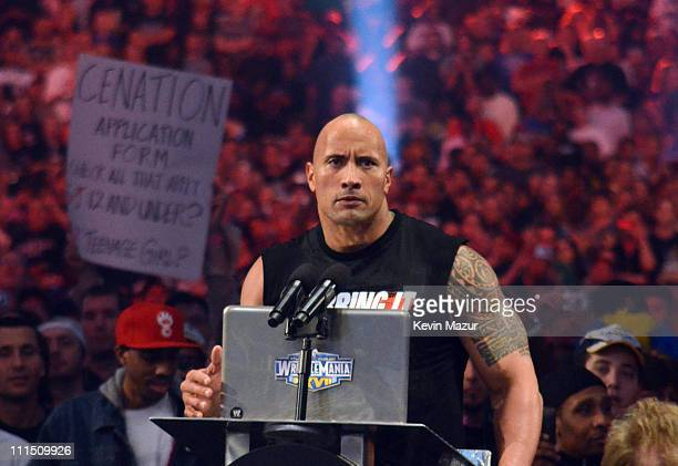 Dwayne The Rock Johnson during WrestleMania XXVII at Georgia Dome on April 3 2011 in Atlanta Georgia