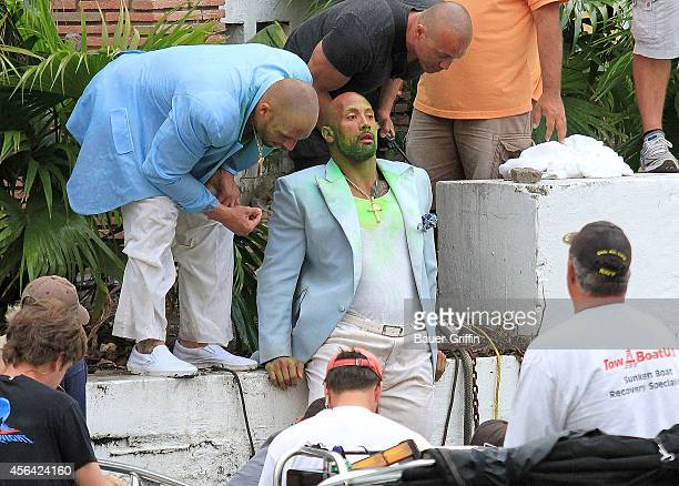 Dwayne 'The Rock' Johnson is seen on movie set of 'Pain and Gain' on April 14 2012 in Miami Florida