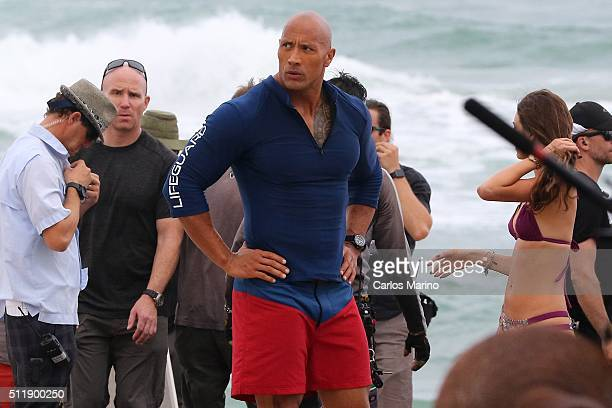 Dwayne 'The Rock' Johnson is sighted on the film set of 'Baywatch' on February 23 2016 in Deerfield Beach Florida