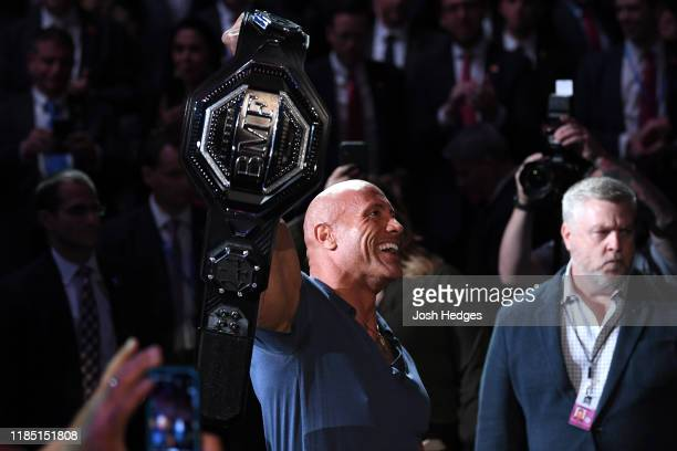 Dwayne 'The Rock' Johnson presents the BMF Belt during the UFC 244 event at Madison Square Garden on November 02 2019 in New York City