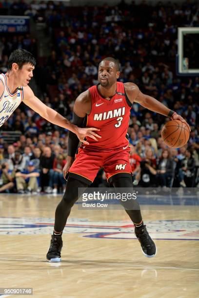 Dwayne Wade of the Miami Heat handles the ball against the Philadelphia 76ers in Game Five of Round One of the 2018 NBA Playoffs on April 24 2018 at...