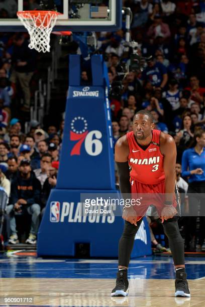 Dwayne Wade of the Miami Heat looks on against the Philadelphia 76ers in Game Five of Round One of the 2018 NBA Playoffs on April 24 2018 at the...
