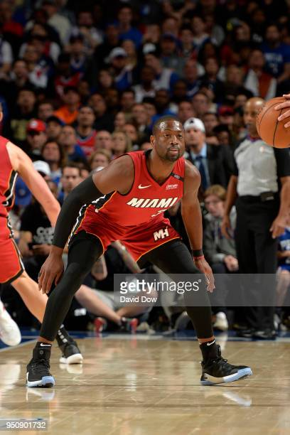 Dwayne Wade of the Miami Heat plays defense against the Philadelphia 76ers in Game Five of Round One of the 2018 NBA Playoffs on April 24 2018 at the...