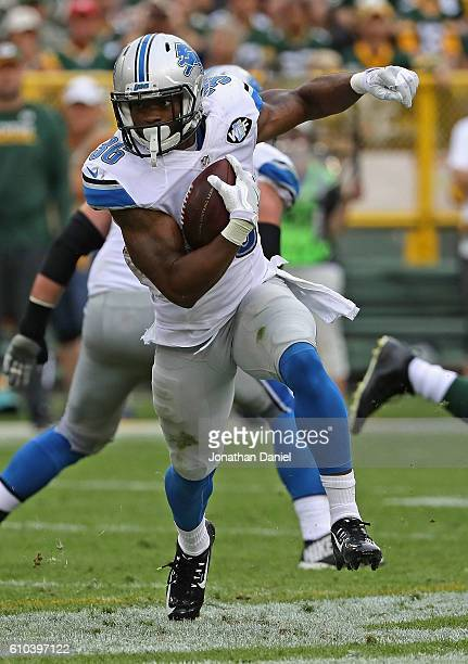 Dwayne Washington of the Detroit Lions runs against the Green Bay Packers at Lambeau Field on September 25, 2016 in Green Bay, Wisconsin.