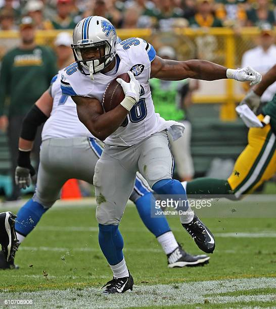 Dwayne Washington of the Detroit Lions runs against the Green Bay Packers at Lambeau Field on September 25, 2016 in Green Bay, Wisconsin.The Packers...