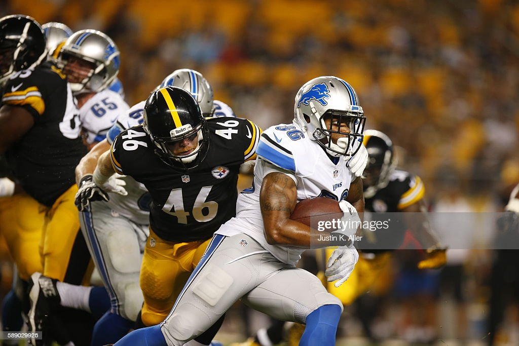 Dwayne Washington #36 of the Detroit Lions rushes in the second half against the Pittsburgh Steelers during the game on August 12, 2016 at Heinz Field in Pittsburgh, Pennsylvania.