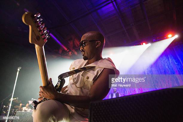 Dwayne Wiggins of Tony Toni Tone performs on stage during the HOT House Party hosted by HOT 1037 at Showare Center on December 12 2014 in Kent...