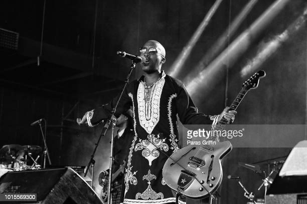 Dwayne Wiggins of 'Tony Toni Tone' performs onstage during KISS 1041 FM Flashback Festival at Cellairis Amphitheatre at Lakewood on August 11 2018 in...