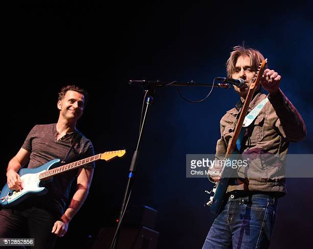 Dweezil Zappa and Eric Johnson perform at Fox Theater on February 27 2016 in Atlanta Georgia