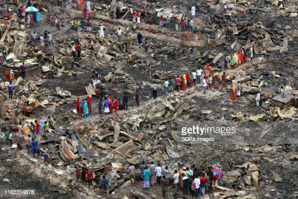 Dwellers at the fire devastated slum in Mirpur area of Dhaka 3000 families have been affected by the massive fire in Mirpur 7 at the Jhilpar slum