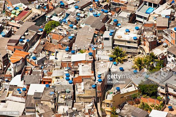 Dwelling conditions at Favela do Vidigal in the south zone of the city lots of domestic satellite television receiving dishes and water boxes on...