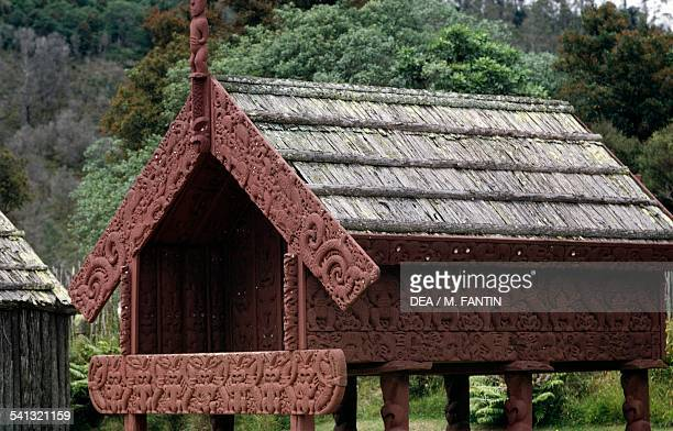 Dwelling in a Maori village Rotorua district New Zealand