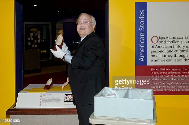 Dwight blocker Bowers places the Ruby Slippers from 'The Wizard Of Oz' in a shipping container to be taken off view from the Smithsonian's National...