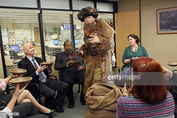 THE OFFICE Dwight Christmas Episode 910 Pictured Creed Bratton as Creed Bratton Leslie David Baker as Stanley Hudson Rainn Wilson as Dwight Schrute...