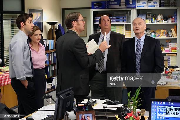 """Dwight Christmas"""" Episode 910 -- Pictured: John Krasinski as Jim Halpert, Jenna Fischer as Pam Halpert, Rainn Wilson as Dwight Schrute, Brian..."""